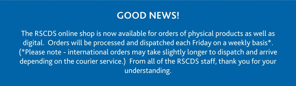 The RSCDS online shop is now available for orders of physical products