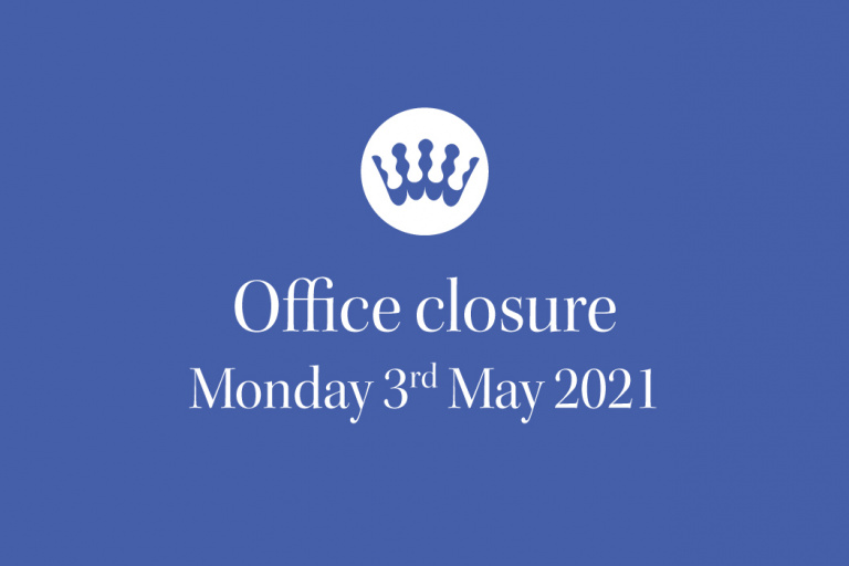 RSCDS Office bank holiday closure May 2021