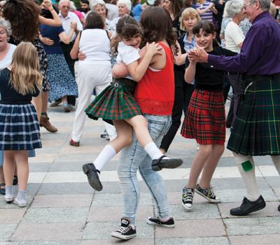 Ceilidh dance outdoors